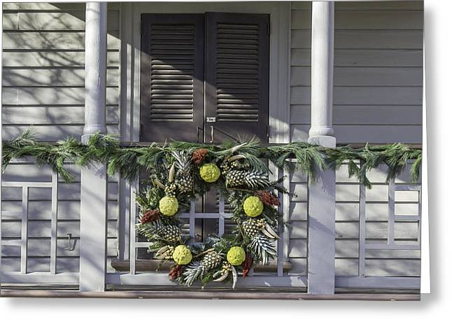 Transoms Greeting Cards - Wreath at Robert Carter House Greeting Card by Teresa Mucha