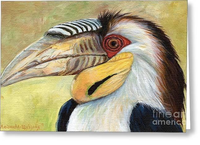 Hornbill Paintings Greeting Cards - Wreathed Hornbill  Greeting Card by Svetlana Ledneva-Schukina