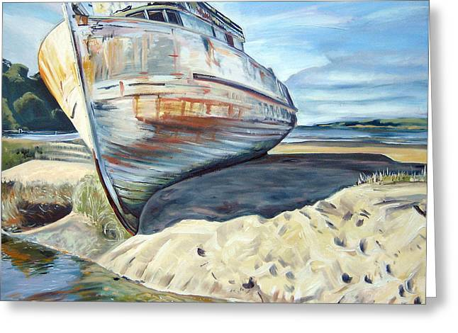 Marin County Greeting Cards - Wreck of the Old Pt. Reyes Greeting Card by Colleen Proppe