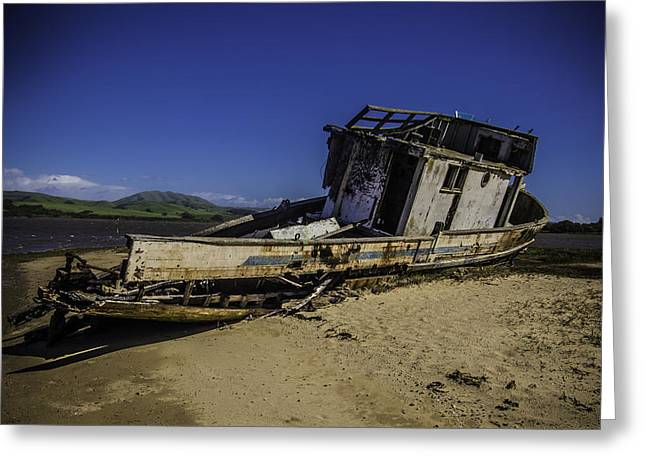 Wrecked On A Sand Bar Greeting Card by Garry Gay