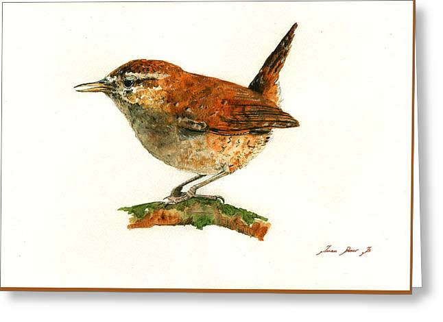 Wren Bird Art Painting Greeting Card by Juan  Bosco
