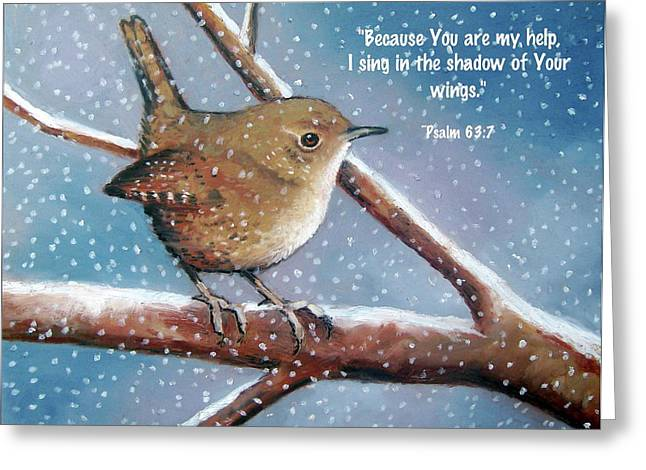 Bible Pastels Greeting Cards - Wren in Snow with Bible Verse Greeting Card by Joyce Geleynse