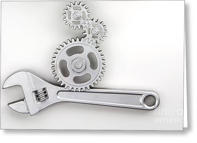 Constructed Greeting Cards - Wrench Greeting Card by Blink Images