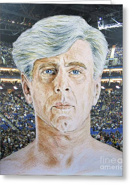 Vince Greeting Cards - Wrestling Legend Ric Flair Greeting Card by Jim Fitzpatrick