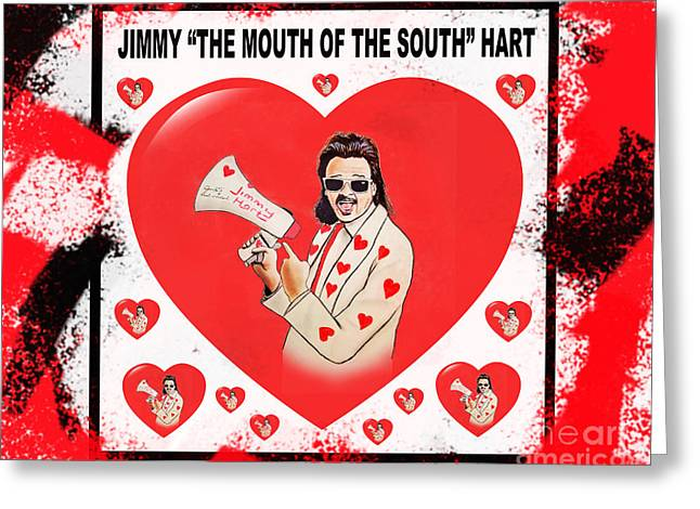 Harts Drawings Greeting Cards - Wrestling Manager Executive Composer Jimmy The Mouth of the South Hart Vrsion II Greeting Card by Jim Fitzpatrick