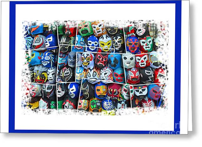Vince Greeting Cards - Wrestling Masks of Lucha Libre Altered III Greeting Card by Jim Fitzpatrick