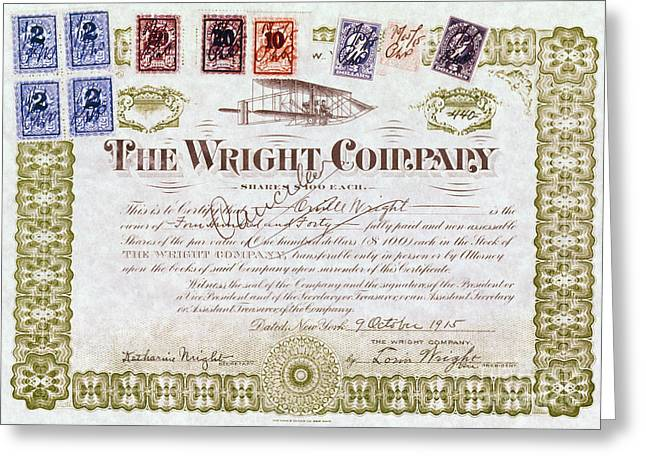 Certificates Greeting Cards - Wright Brothers, 1915 Greeting Card by Granger