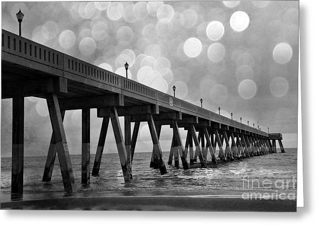 Wrightsville Greeting Cards - Wrightsville Beach North Carolina Ocean Fishing Pier Black and White Photography Greeting Card by Kathy Fornal
