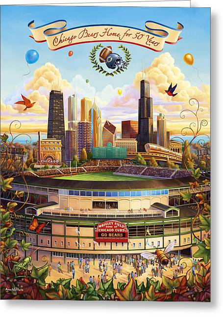 Chicago Skyline Mixed Media Greeting Cards - Wrigley Field Greeting Card by Anne Wertheim