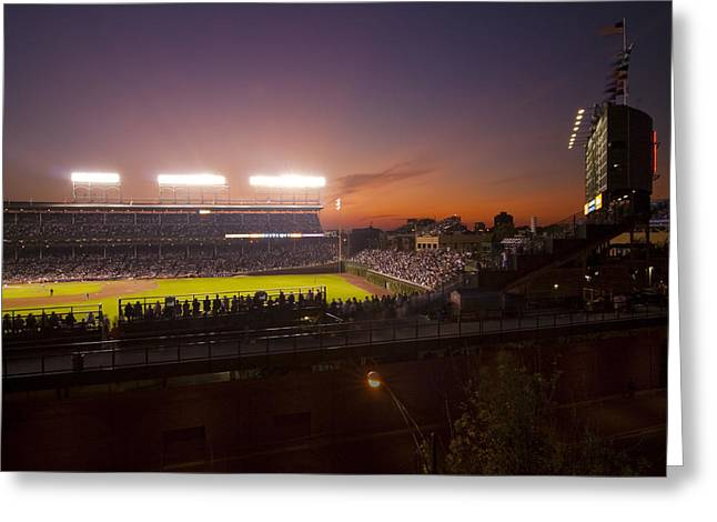 Wrigley Field at Dusk Greeting Card by Sven Brogren