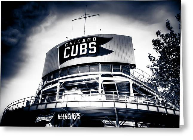 Friendly Confines Greeting Cards - Wrigley Field Bleachers in Black and White Greeting Card by Anthony Doudt