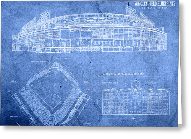 Chicago Cubs Stadium Greeting Cards - Wrigley Field Chicago Illinois Baseball Stadium Blueprints Greeting Card by Design Turnpike