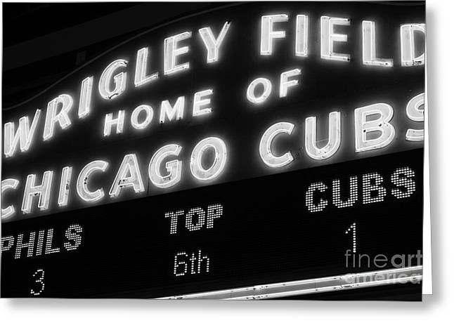 Chicago Cubs Stadium Greeting Cards - Wrigley Field Sign Black and White Picture Greeting Card by Paul Velgos