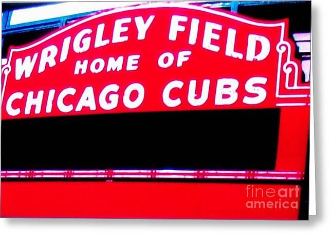 Wrigley Field Sign Greeting Card by Marsha Heiken