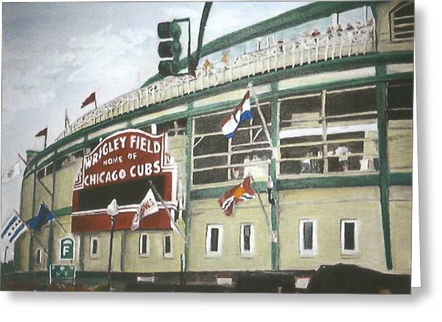 Wrigley Field Greeting Card by Travis Day