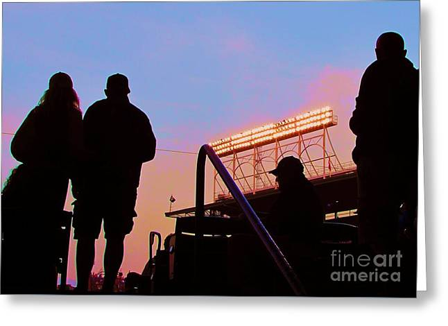 Wrigley Field At Night Greeting Cards - Wrigley Fields silhouettes Greeting Card by Allen Meyer