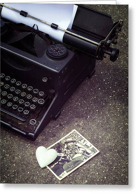 Typewriter Greeting Cards - Writing A Love Letter Greeting Card by Joana Kruse