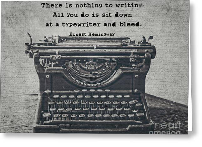 Writing According To Hemingway Greeting Card by Emily Kay