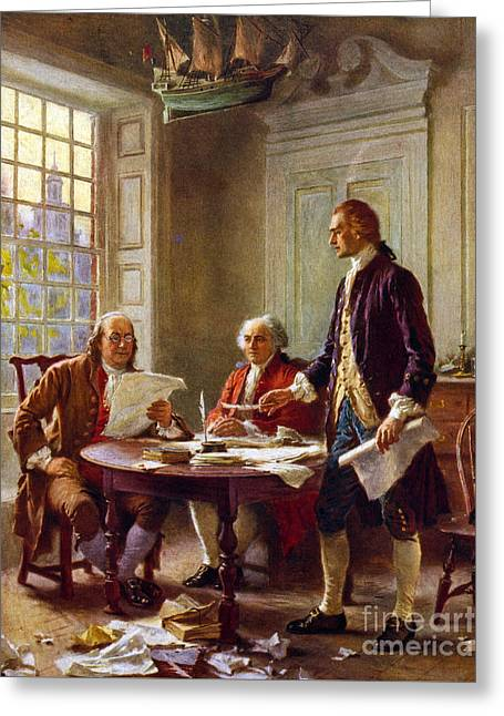 Writing The Declaration Of Independence, 1776, Greeting Card by Leon Gerome Ferris