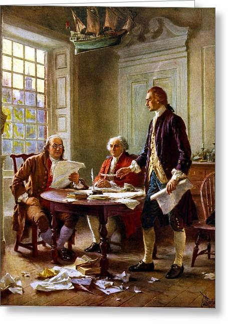Politicians Paintings Greeting Cards - Writing The Declaration of Independence Greeting Card by War Is Hell Store