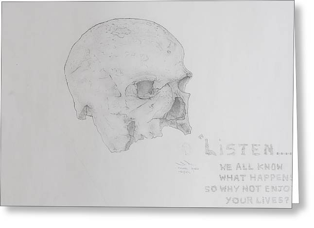 Written In Bone Greeting Card by Contemporary Michael Angelo