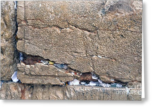 Forehead Greeting Cards - Written Prayers Western Wall Greeting Card by Thomas R Fletcher