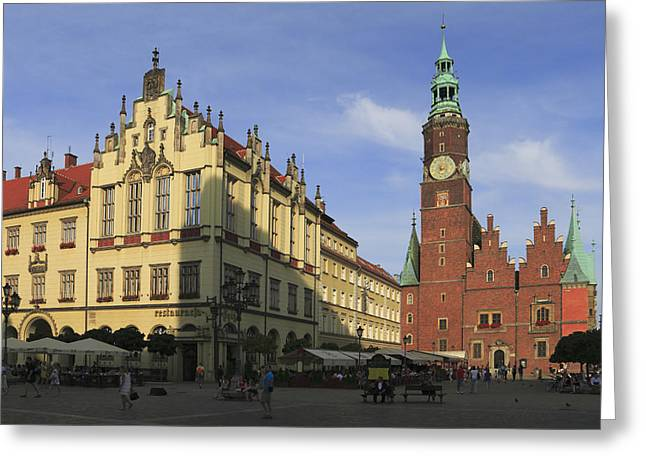 Town Square Greeting Cards - Wroclaw Marketplace and the Old Town Hall Poland Greeting Card by Ivan Pendjakov