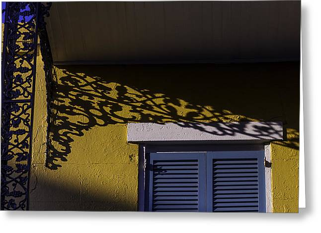Wrought Iron Shadows Greeting Card by Garry Gay