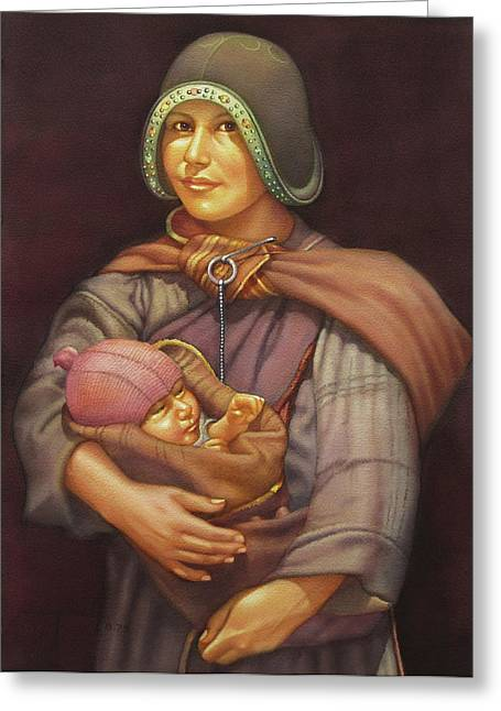 Ws1979dc003 Mother And Child 18x24 Greeting Card by Alfredo Da Silva