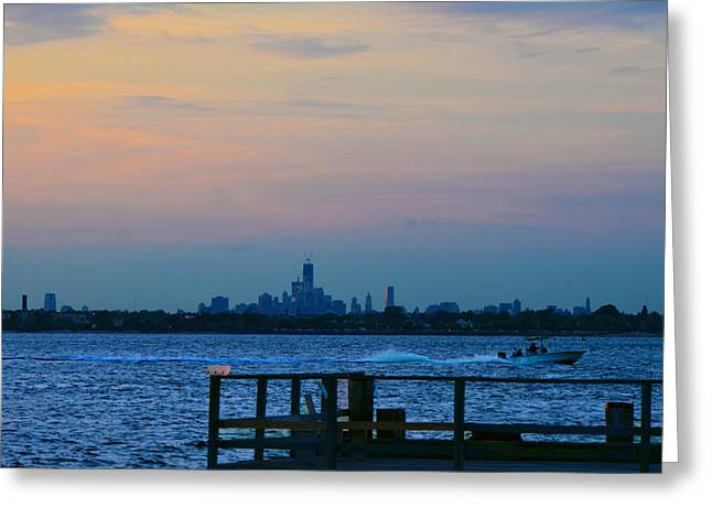 Breezy Greeting Cards - WTC over Jamaica Bay from Rockaway Point Pier Greeting Card by Maureen E Ritter