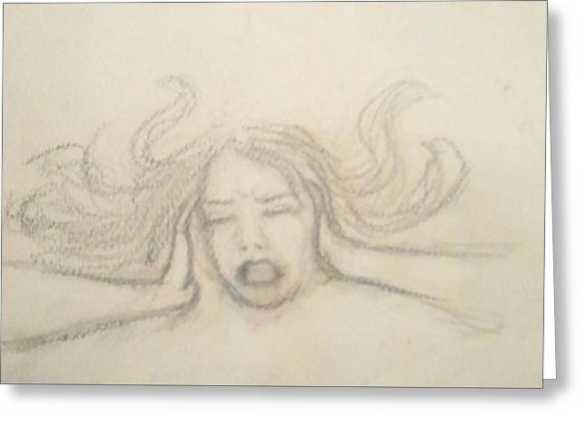 Anger Drawings Greeting Cards - Wtf Greeting Card by Jennie Hallbrown