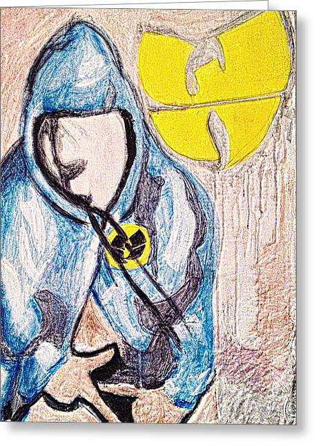 Hoodies Drawings Greeting Cards - Wu Tang Clan Fan Greeting Card by Breanna Lewis