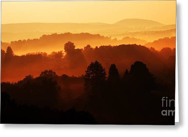 Allegheny Greeting Cards - WV Misty Mountain Sunrise Mirror Image Greeting Card by Thomas R Fletcher