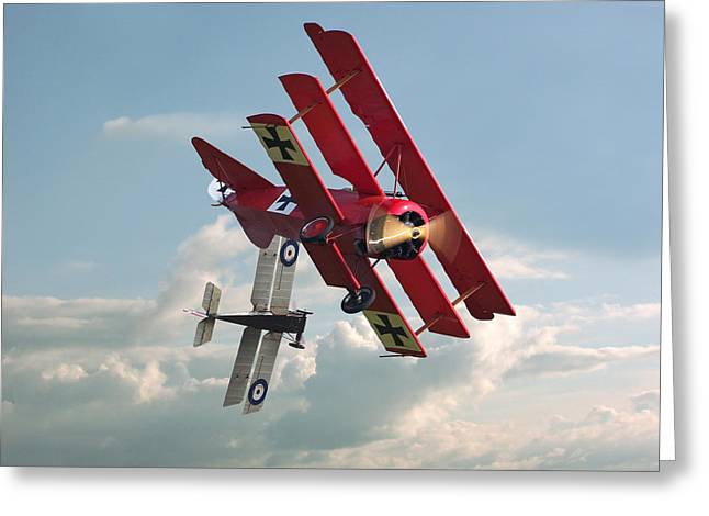 Biplane Greeting Cards - WW1 - Combat - One on One Greeting Card by Pat Speirs