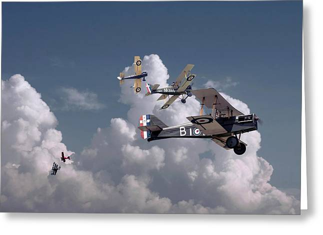 Fokker Dr-1 Greeting Cards - WW1 - SE5 - Up Sun Greeting Card by Pat Speirs