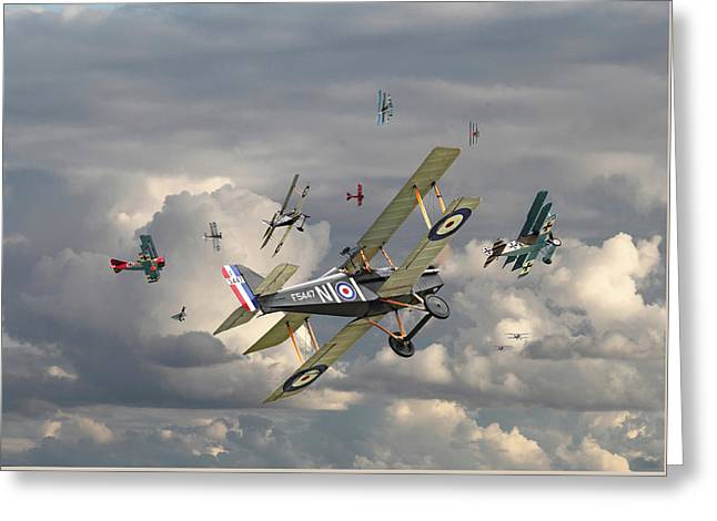 Triplane Greeting Cards - WW1 - Wings Greeting Card by Pat Speirs