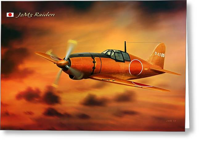 Will Power Digital Art Greeting Cards - WW2 Imperial Japanese Fighter J2M3 Raiden Greeting Card by John Wills