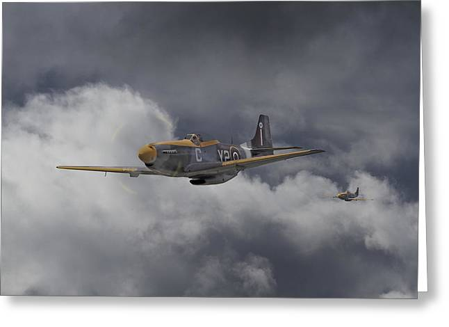 Clouds Scape Greeting Cards - WW2 - P-51 - I think we-re lost Greeting Card by Pat Speirs