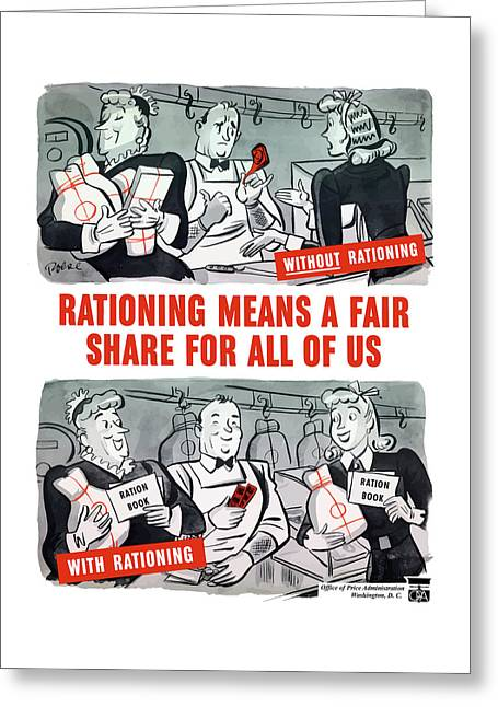 Ww2 Rationing Cartoon Greeting Card by War Is Hell Store