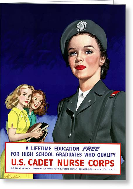 I Greeting Cards - WW2 US Cadet Nurse Corps Greeting Card by War Is Hell Store