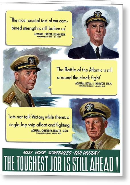 Royal Mixed Media Greeting Cards - WW2 US Navy Admirals Greeting Card by War Is Hell Store