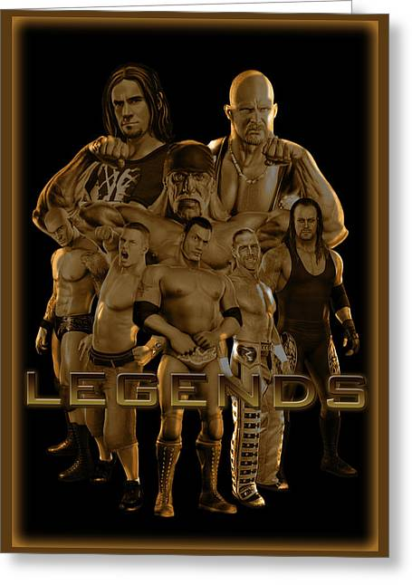 Stone Mixed Media Greeting Cards - WWE Legends by GBS Greeting Card by Anibal Diaz