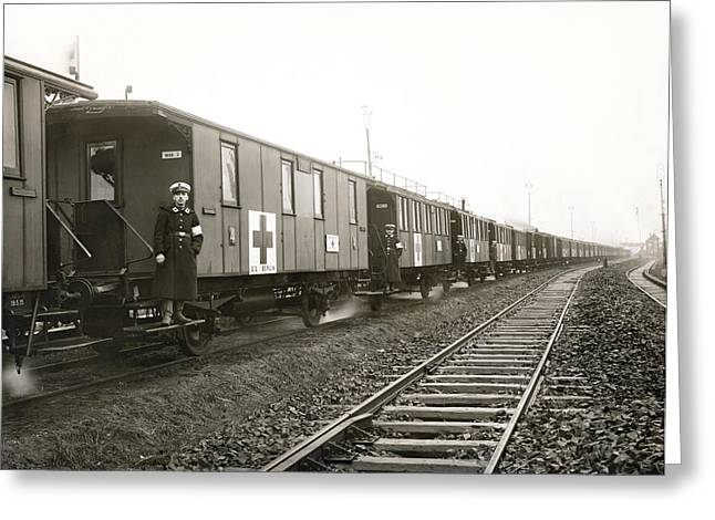 Wwi Greeting Cards - WWI German Hospital Train Greeting Card by Underwood Archives