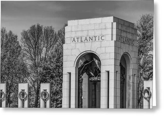Landscapes Photographs Greeting Cards - WWII Atlantic Memorial BW Greeting Card by Susan Candelario