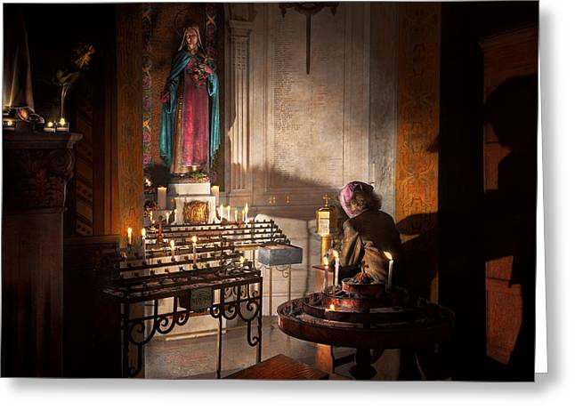 Candle Lit Greeting Cards - WWII - Ill pray for you 1944 Greeting Card by Mike Savad