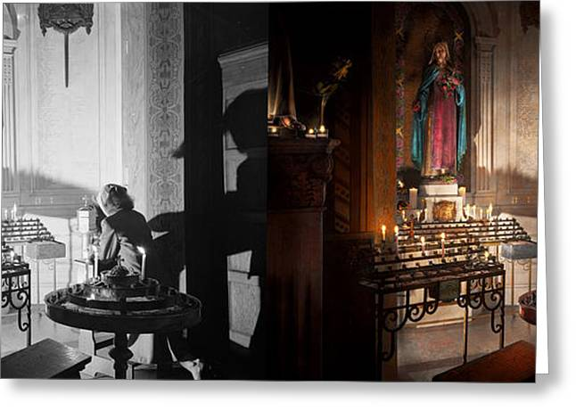 Candle Lit Greeting Cards - WWII - Ill pray for you 1944 Side by Side Greeting Card by Mike Savad
