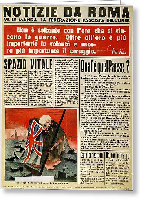 Front Page Greeting Cards - Wwii: Italian Newspaper Greeting Card by Granger
