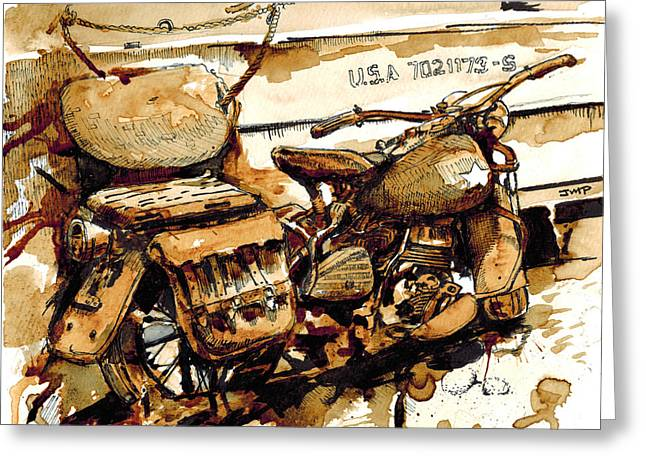 Memorial Day Drawings Greeting Cards - WWII Motorcycle Normandy - Coffee Watercolor Greeting Card by Jonathan Patterson