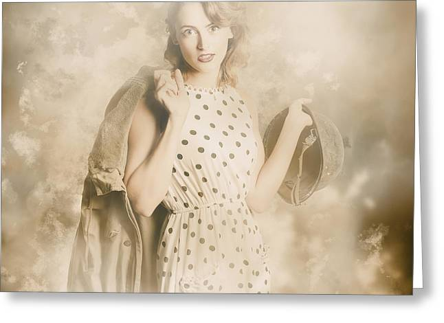 Wwii Tour Of Duty Pin-up Woman Greeting Card by Jorgo Photography - Wall Art Gallery