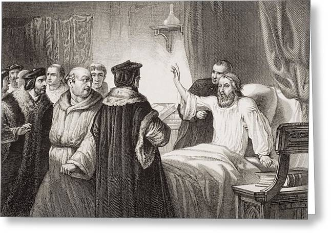 Reformer Drawings Greeting Cards - Wycliffe On His Sick Bed Assailed By Greeting Card by Ken Welsh